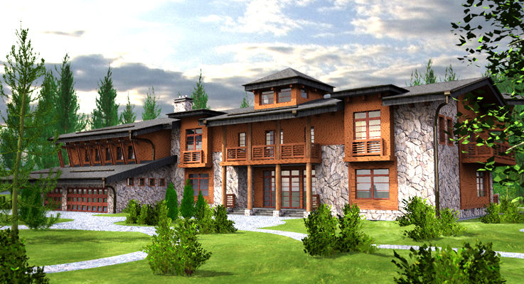 family house in the forest, insulated concrete block custom residence project, 3 dimensional color rendering of main entry elevation, laminated wood siding, wood accents, stone veneer, voulted ceiling, inner swimmingpool