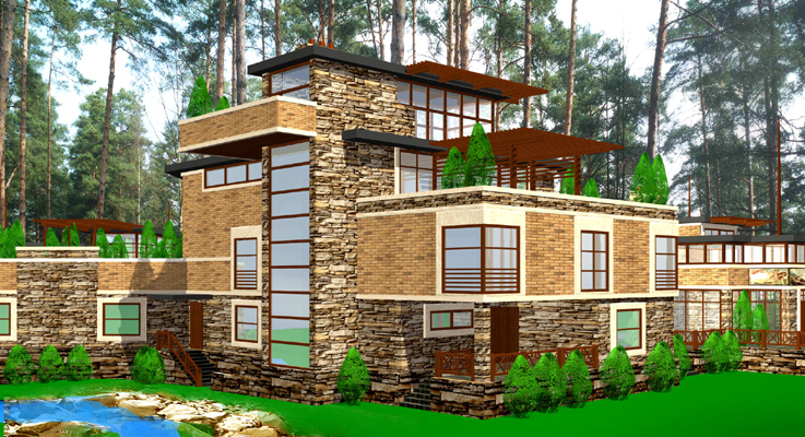 out of town family custom residence, four season use villa, eco friendly forest residence, with appartment for servants, maid, nanny, passive solar design, insulated concrete form exterior walls, artificial outdoor stream, green roof project